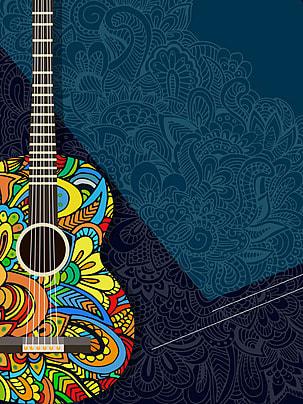 retro latar belakang hitam gitar seni , Retro, Hitam, Gitar imej latar belakang