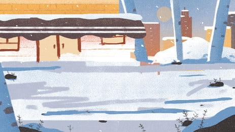 卡通夜晚雪景背景圖 夜晚 雪地 聖誕樹背景圖庫