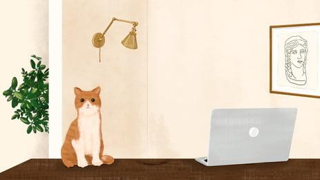 कंप्यूटर बिल्ली रचनात्मक पृष्ठभूमि, कंप्यूटर, बिल्ली, रचनात्मक पृष्ठभूमि छवि