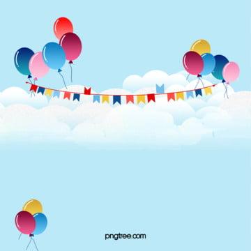 向量卡通藍色天空放飛氣球背景 , 向量, 卡通, 藍色 背景圖庫