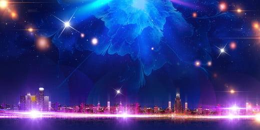 star city malam latar belakang, Bintang, Kota, Pandangan Malam imej latar belakang