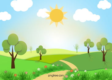 Vector Cartoon Painted Pastoral Landscape Background, Green, Meadow, Blue, Background image