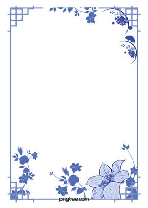 Chinese Style Blue And White Background Border, Chinese, Style, Blue, Background image