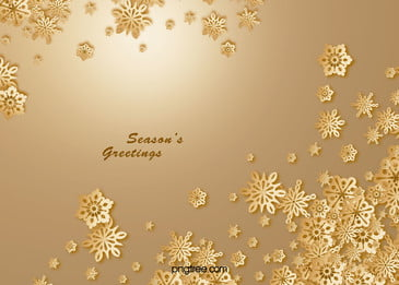 Golden Christmas Greeting Card Snowflakes Vector Background Material, Golden, Christmas, Snowflake, Background image