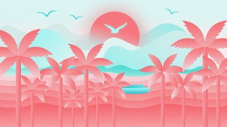 palm beach matahari terbenam kuning h5 bahan latar belakang, Tepi Pantai, Coco, Matahari Terbenam imej latar belakang