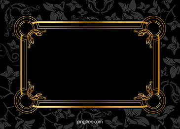 Black Gold Frame Pattern Background Material, Black, Pattern, Gold, Background image