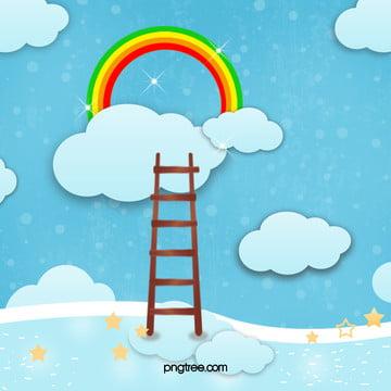cầu vồng thang mây bài hát nền màu xanh , Cầu Vồng, Thang, Màu Xanh. Ảnh nền