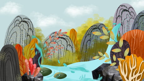 Thác nước xanh áp phích viridis Poster Áp Phích Hình Nền