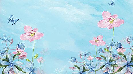 हाथ चित्रित नर्सरी चित्रण बाड़ मेलबॉक्स तितली घास का मैदान, हाथ चित्रित, बाल विहार, चित्रण पृष्ठभूमि छवि