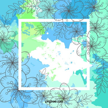 mint green watercolor blue flowers background material , Mint, Green, Blue Background image
