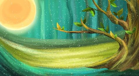дерево ландшафт лес древесные растения справочная информация, трава, летом, завод Фоновый рисунок