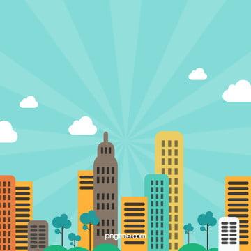 कार्टून शहर पृष्ठभूमि सामग्री , कार्टून, शहर, नीले आकाश पृष्ठभूमि छवि