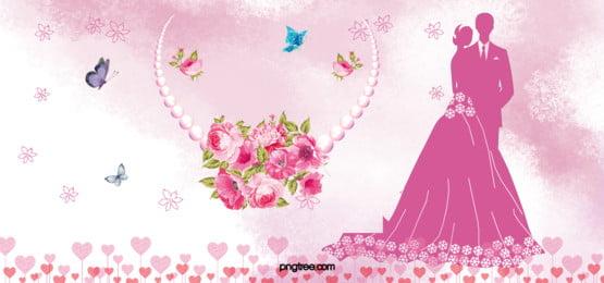 शादी की रोमांटिक गुलाबी बैनर पृष्ठभूमि, माहौल, रोमांटिक, कल्पना पृष्ठभूमि छवि