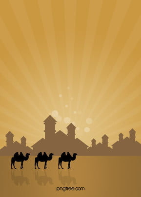 vector painted desert camel religious background material , Yellow, Desert, Camel Background image