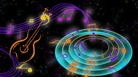 cool music notation music festival poster background material, Al, Note, Silhouette Background image