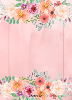 Pink Floral Wedding Poster Background Material, Pink, Flowers, Plant, Background image
