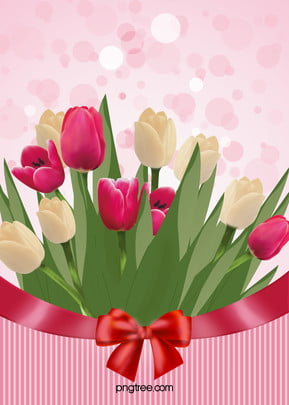 Beautiful Bouquet Of Pink Tulips Poster Background Material, Pink, Beautiful, Tulip, Background image