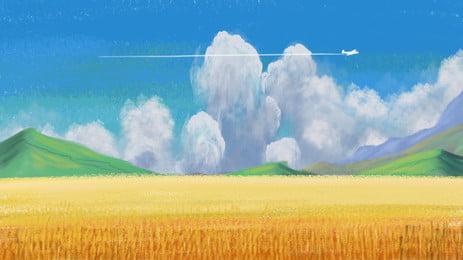 秋日的麥田美麗金色, 麥田, 秋日, 藍天 背景圖片