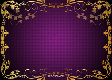 vector gold pattern frame purple plaid background material, Golden, Pattern, Border Background image