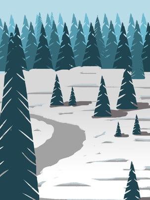 rata gaya pain lanskap snowy musim sejuk lanskap , Rata, Pain, Snowy Bidang imej latar belakang