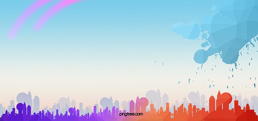 空 建築 シティ シルエット 背景, カラフル, シティシルエット, シルエット 背景画像