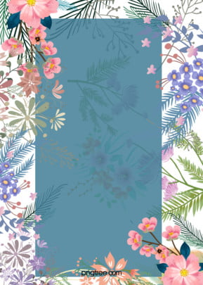 small art hand painted hand painted flower border blue h5 background , Hand-painted, Flowers, Floral Background image