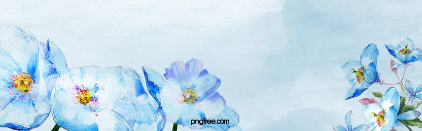 Blue Romantic Fresh Hand-painted Flowers Banner, Blue, Romantic, Hand-painted, Background image