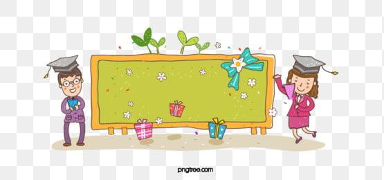 Cartoon School Season Blackboard Graduation, Children Banner, Cartoon, School, Season, Background image