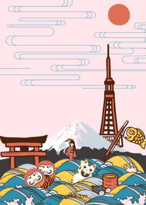 ベクトルの日本旅行漫画の背景 , ベクトルの日本旅行漫画の背景, 日本, 旅行 背景画像
