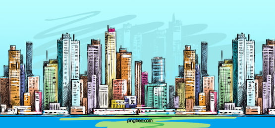 हाथ से तैयार की गई स्केच  रेखा आरेखण शहर की इमारतों, हाथ चित्रित, स्केच, लाइन ड्राइंग पृष्ठभूमि छवि