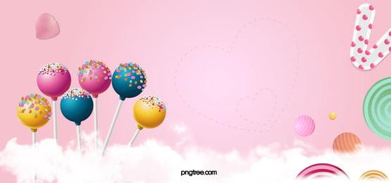 banner de doces rosa dos desenhos animados, Candy, Lollipop, Pétala Imagem de fundo
