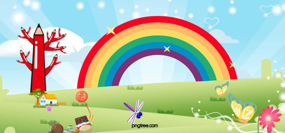cartoon  rainbow  grass  blue sky  happiness and warmth  banner, Cartoon, Rainbow, Grassland Background image