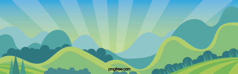 Blue Fresh Cartoon Hand-painted Landscape Promotion Banner, Cartoon, Landscape, Child, Background image