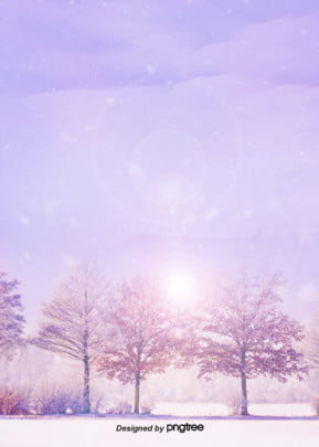 Beautiful Romantic Purple Winter Snow Forest Background, In The Winter, Tree, Romantic, Background image