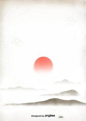mặt trời đỏ nền truyền thống mực , Dãy Núi, Hoạ Tiết, Lê Ảnh nền