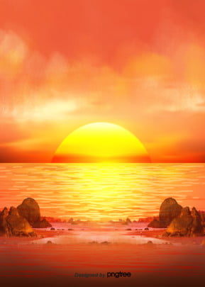 red sun sea sunrise background , Stone, The Sea, Background Background image