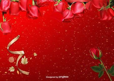 merah yang halus meningkat ribbon hari valentine latar belakang, Hari Valentine, Rose, Merah imej latar belakang
