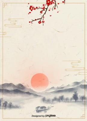 स्याही शैली कोरियाई पारंपरिक सूर्योदय पोस्टर पृष्ठभूमि में , चीन पवन, पारंपरिक, विंटेज पृष्ठभूमि छवि
