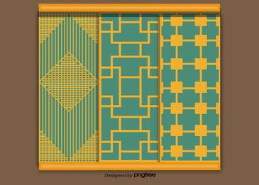 中國元素的樣式在黃色背景中, 圖案, 立體聲, 中國風格 背景圖片