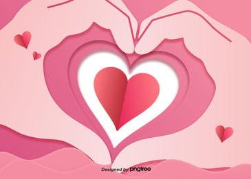 발렌타인 데이 로맨틱 배경, 발렌타인 데이, 제스처, 종이 접기 배경 이미지