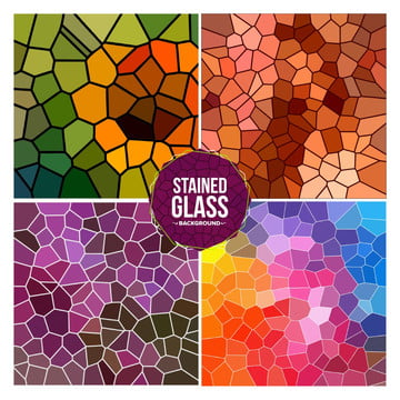 Multicolor Broken Stained Glass Background Set , Glass, Stained, Background Background image
