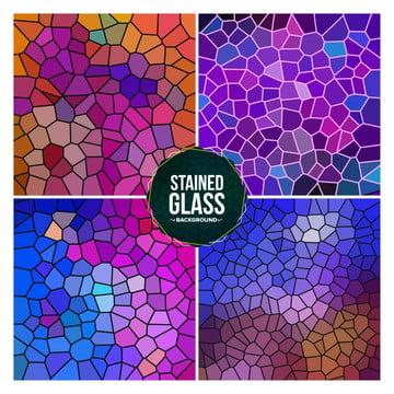 多色破碎的彩色玻璃背景設置 , 玻璃, 染色, 背景 背景圖片