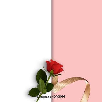 розовый цвет фона розы , лента, День Святого Валентина, фон на день Святого Валентина Фоновый рисунок