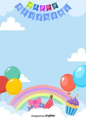 かわいい誕生日おめでとうポスターの背景 , アニメ, かわいい, 彩旗 背景画像
