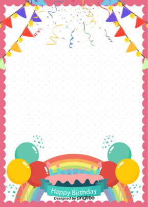 Fashion Cartoon Lovely Birthday Party Poster Background, Cartoon, Coloured Flag, Hand Drawn, Background image
