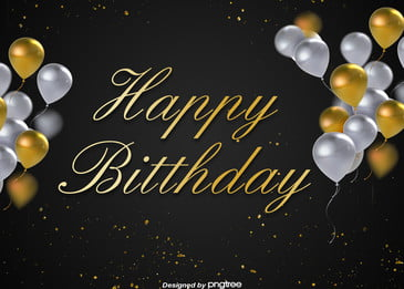 happy birthday background for black gold minimalist party, Celebrate, Coloured Ribbon, Balloon Background image