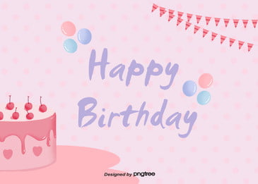 bữa tiệc mừng sinh nhật nền màu hồng rất đơn giản Lá Cờ Bong Hình Nền