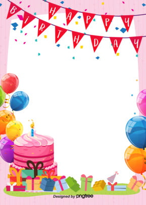 happy birthday background of simple cute cartoon posters , Cartoon, Coloured Flag, Hand Drawn Background image