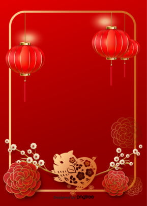new year plum lantern flowers golden pig year background spring festival poster , Two Thousand And Nineteen, New Year, Spring Festival Background image