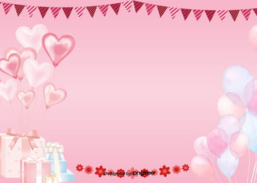 Simple Pink Birthday Background, Coloured Ribbon, Coloured Flag, Balloon, Background image